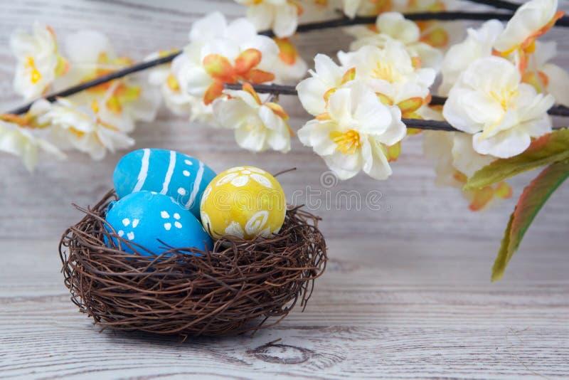 Målade ägg och blommor Ägg i reden på trä arkivbilder