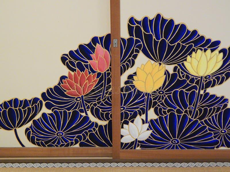 Målade byxor i Shoren-in Temple, Kyoto Japan fotografering för bildbyråer