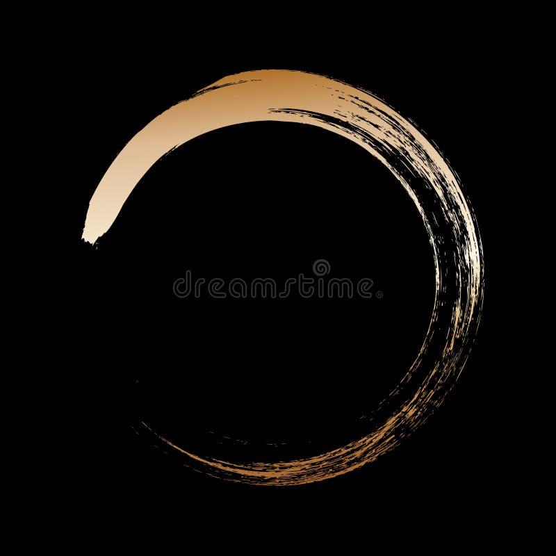 Målade den guld- ramen för cirkeln med borsteslaglängder på svart bakgrund Abstrakt vektordesignbeståndsdel Guld- begrepp vektor illustrationer