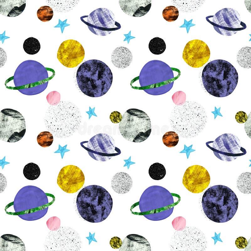 Målade den sömlösa modellen för utrymme med handen stjärnor och planeter på vit bakgrund Kosmos- och galaxillustration tecknad ha stock illustrationer