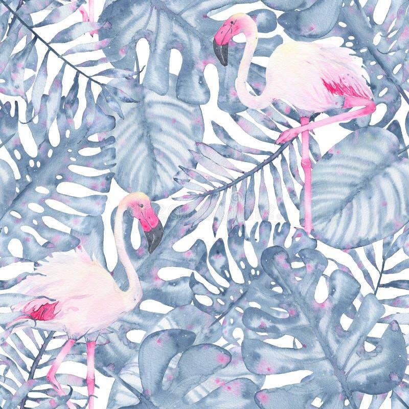 Målade den tropiska sömlösa modellhanden för vattenfärgen den rosa flamingo, och sidor av indigoblått gömma i handflatan monstera vektor illustrationer