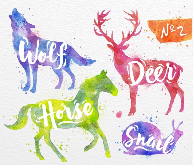 Målade djurhjortar stock illustrationer