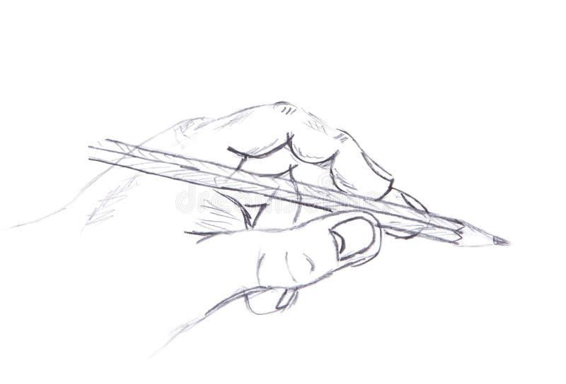 Målade en bild. mänsklig hand och en blyertspenna stock illustrationer