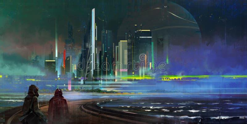 Målade en fantastisk nattstad av megapolis i stilen av cyberpunken royaltyfri fotografi