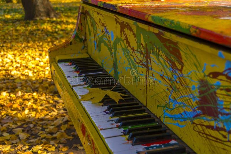 Målade färger av pianot i en höst parkerar Lönnlövet ligger på tangenterna arkivbilder