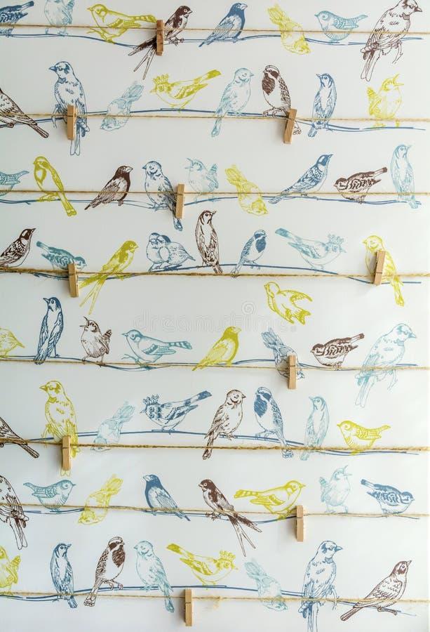 Målade fåglar och klädnypor royaltyfri bild