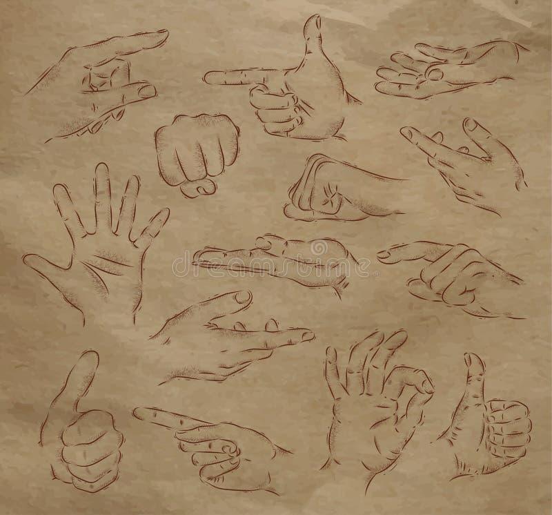 Målade händer kraft royaltyfri illustrationer