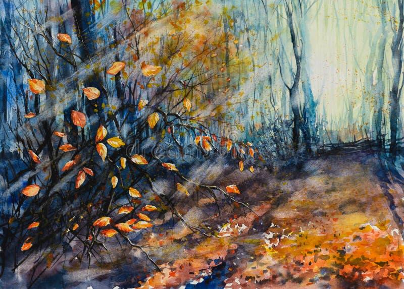 Målade höstskogvattenfärger stock illustrationer