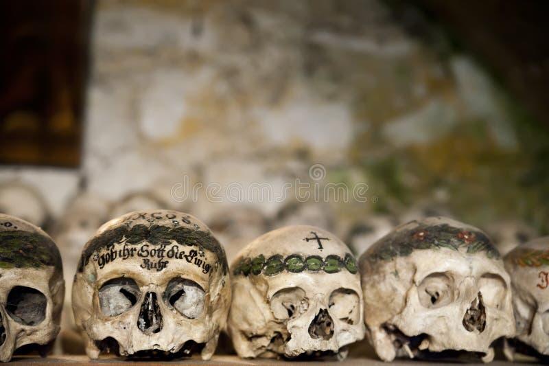 målade skallar för ben hus royaltyfria bilder