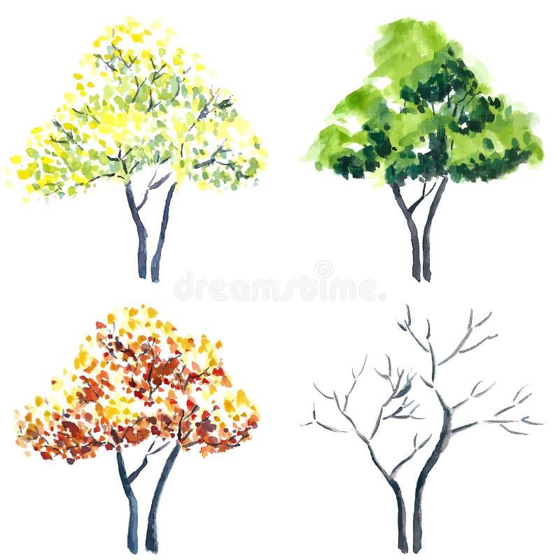 målade trees stock illustrationer