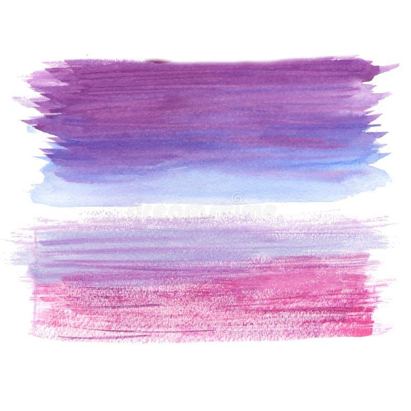 Målade vattenfärgen för konst texturerade den abstrakta rosa lila borsten bakgrundsillustrationen Planlägg för rubrik-, logo- och royaltyfri illustrationer