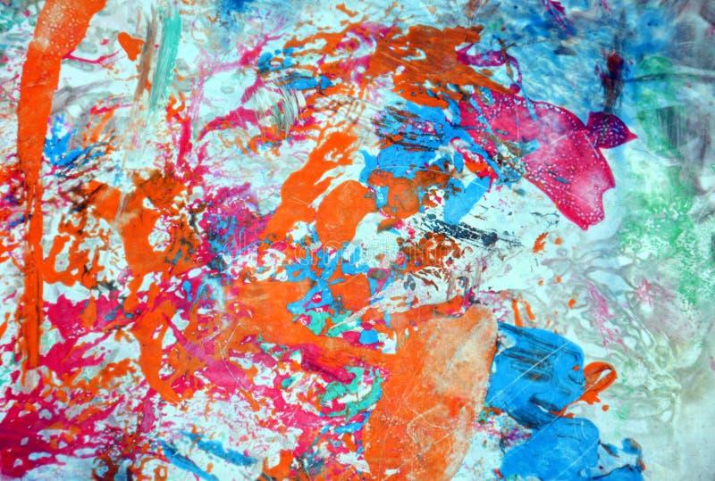 Målar blåa orange former för rosa färger vattenfärgbakgrund, abstrakt begreppformer och geometrier royaltyfria foton
