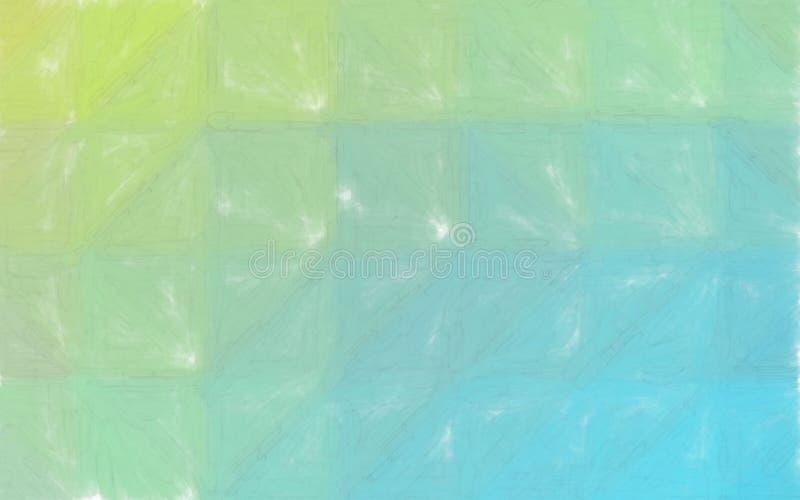 Målar den abstrakta illustrationen för godan av den blåa vattenfärgen för guling och för gräsplan med den stora borsten Bra bakgr stock illustrationer