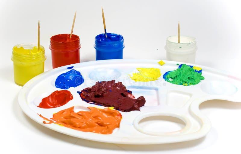 målar paletten plastic fotografering för bildbyråer