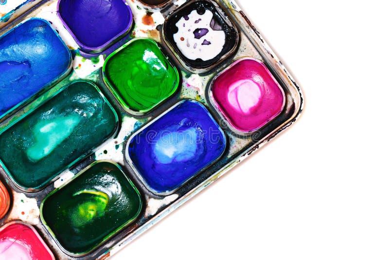 målar vattenfärg paintbox royaltyfri illustrationer