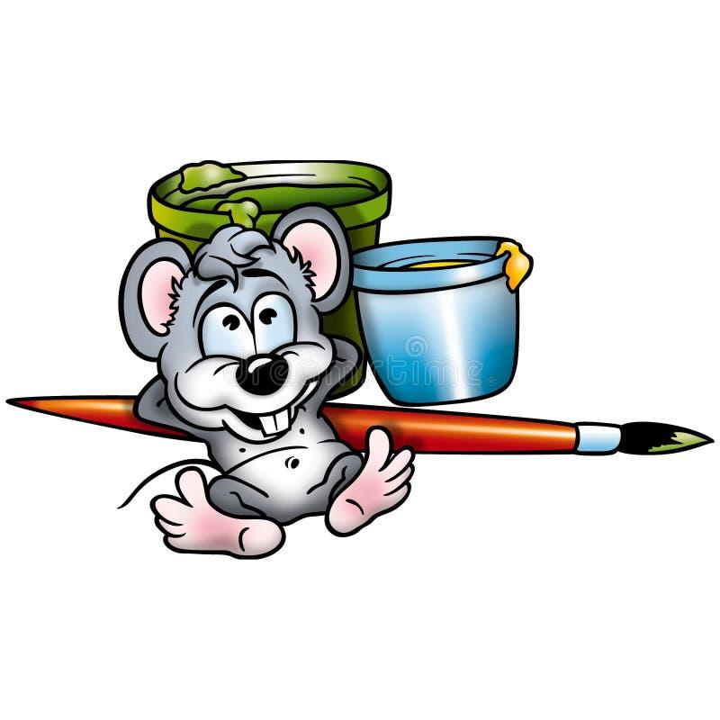 målare för 03 mus stock illustrationer
