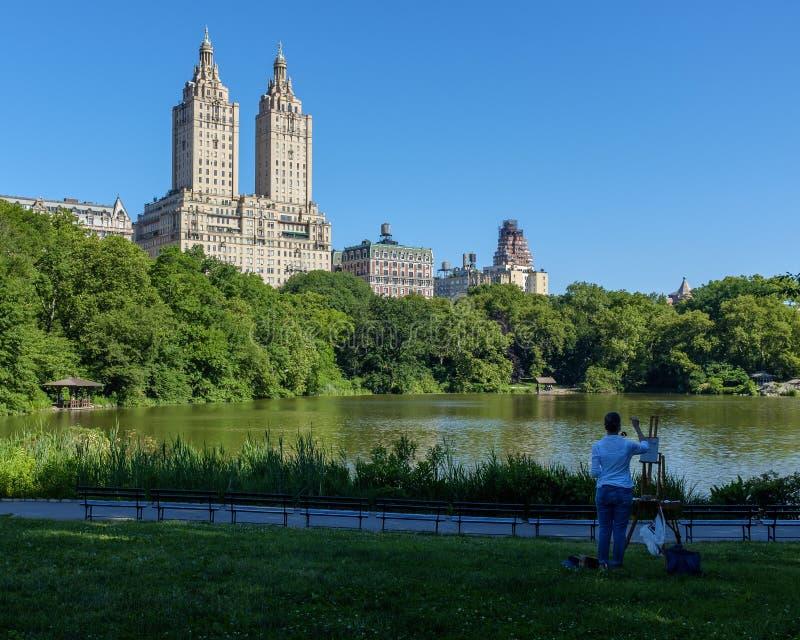 Målare för NYC Central Park arkivbilder