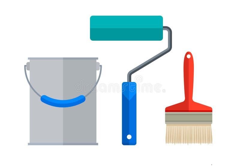 Målareinstrument för att måla för rullmålarfärg för plan borste kruset stock illustrationer