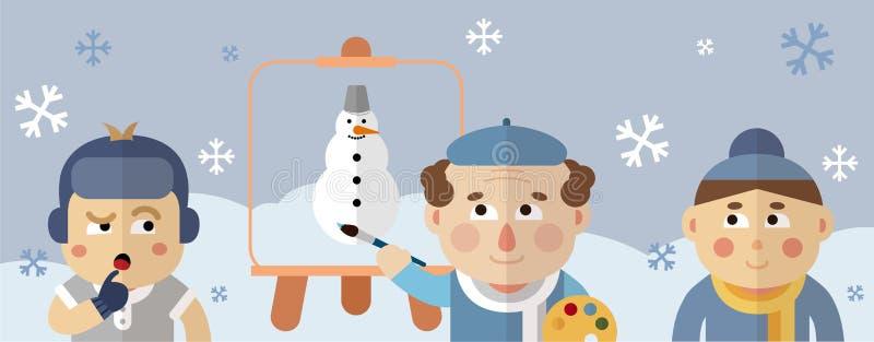 Målaren drar ett vinterlandskap med en snögubbe och snöflingor royaltyfri illustrationer