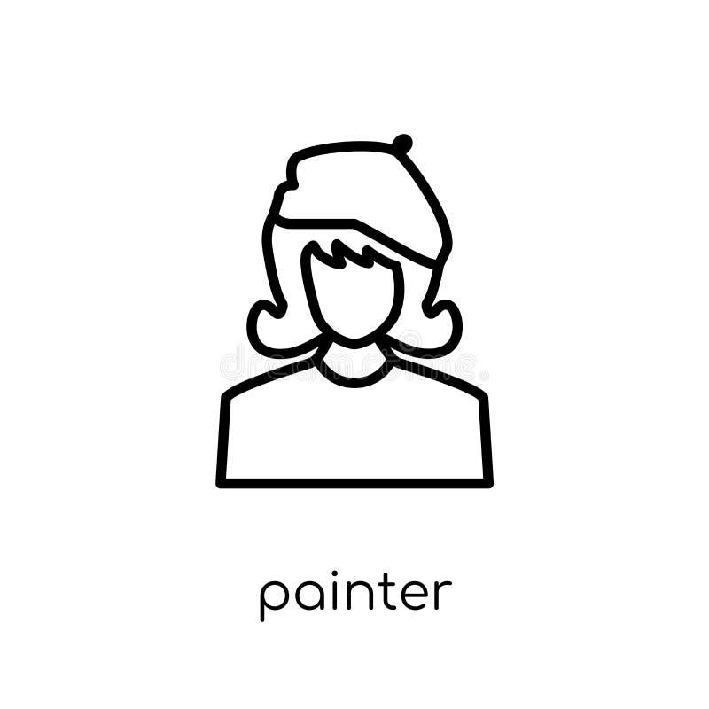 Målaresymbol Moderiktig modern plan linjär vektormålaresymbol på w royaltyfri illustrationer