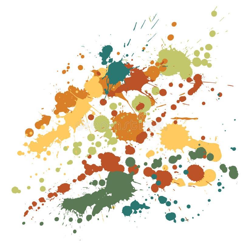 Målarfärg befläcker grungebakgrundsvektorn Futuristiskt färgpulver plaskar, sprejfläckar, smutsfläckbeståndsdelar, vägggrafitti stock illustrationer