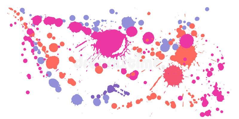 Målarfärg befläcker grungebakgrundsvektorn Slumpmässigt färgpulver plaskar, besprutar fläckar, smutsiga fläckbeståndsdelar, väggg vektor illustrationer