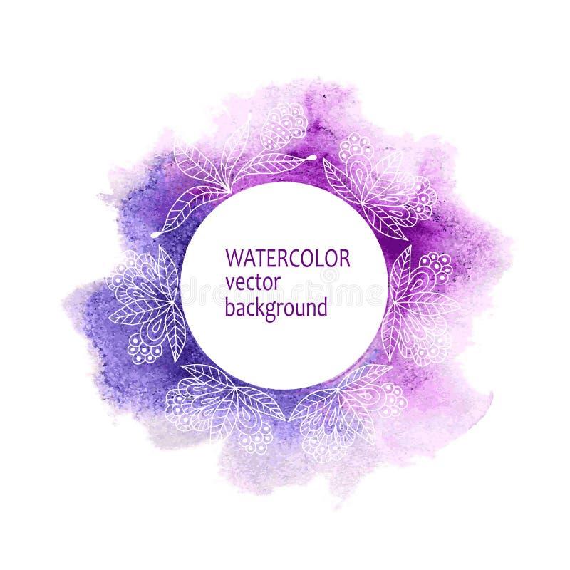 Målarfärg för vattenfärgcirkelhand på vit bakgrund vektor illustrationer
