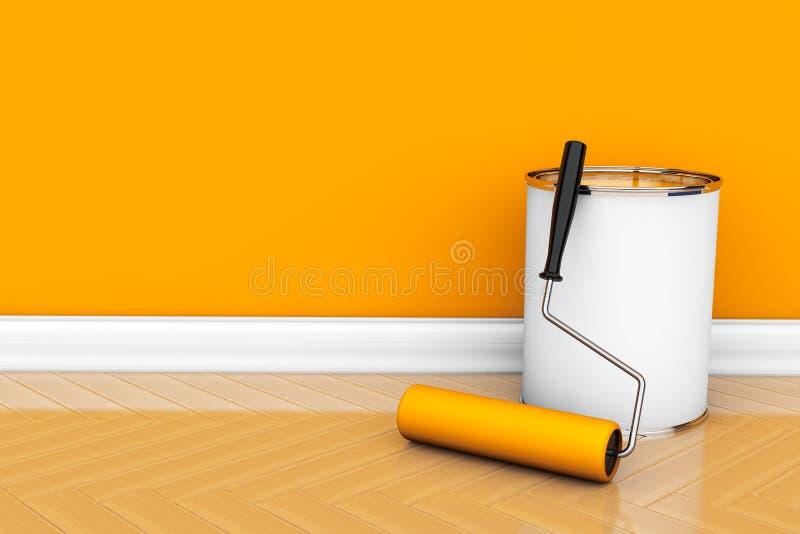 Målarfärg kan med rullborsten fotografering för bildbyråer