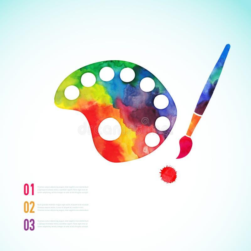 Målarfärgborste med palettsymbolsvektorn, konstpalett royaltyfri illustrationer
