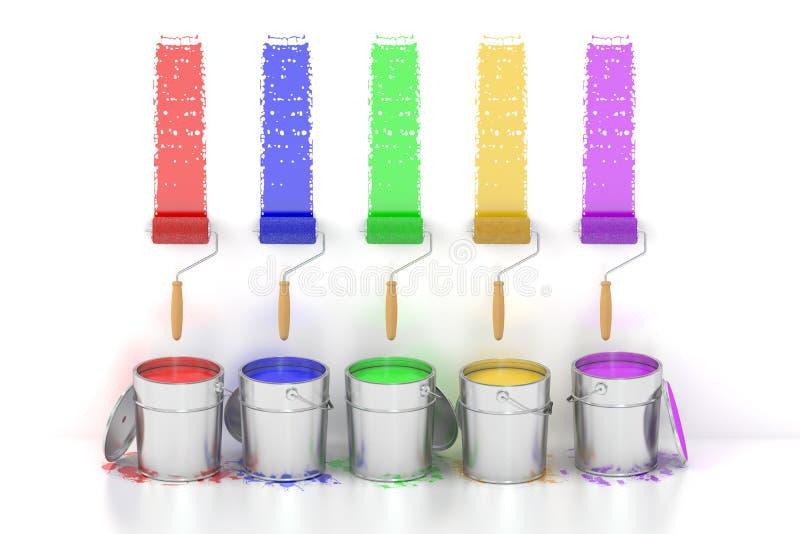 Målarfärgcans och rullborstar framförande 3d vektor illustrationer