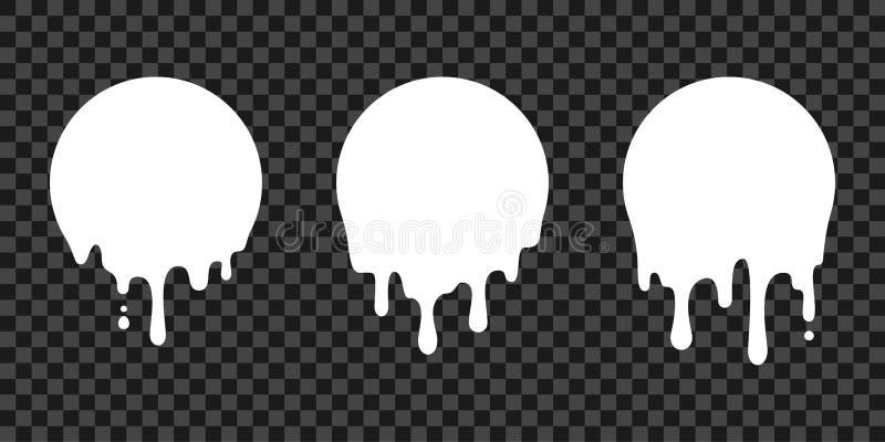 Målarfärgdroppandeklistermärkear, cirkelvit smälter droppvektorsymboler Vektorn mjölkar cirkeln smälter droppar, målarfärgdroppan vektor illustrationer