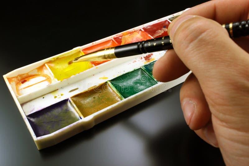 Målarfärger för vattenfärg för att dra arkivfoton