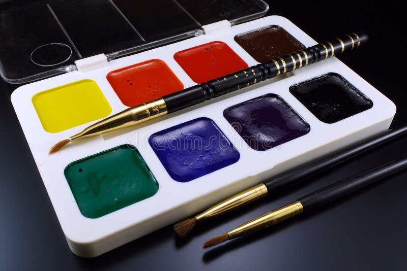 Målarfärger för vattenfärg för att dra arkivbild