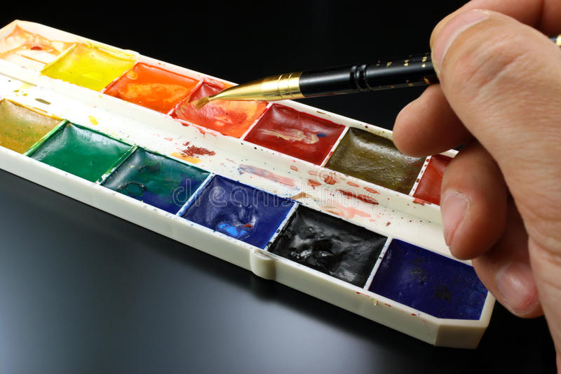 Målarfärger för vattenfärg för att dra royaltyfria foton