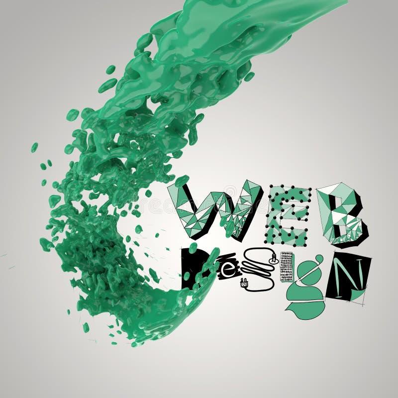 målarfärgfärgfärgstänk med DESIGN för designord RENGÖRINGSDUK stock illustrationer