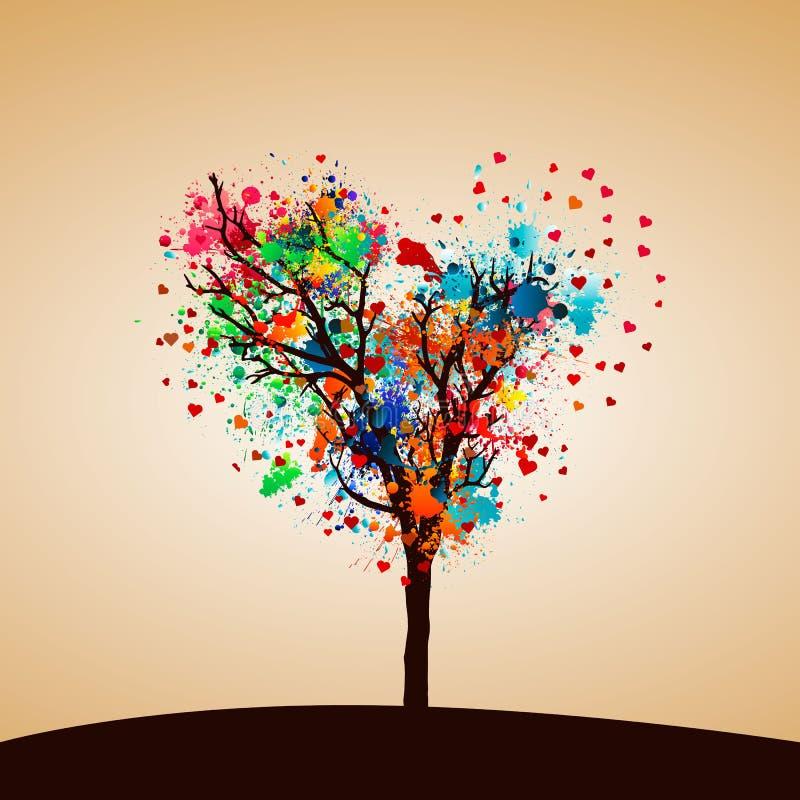 Målarfärgfärgstänkträd royaltyfri illustrationer