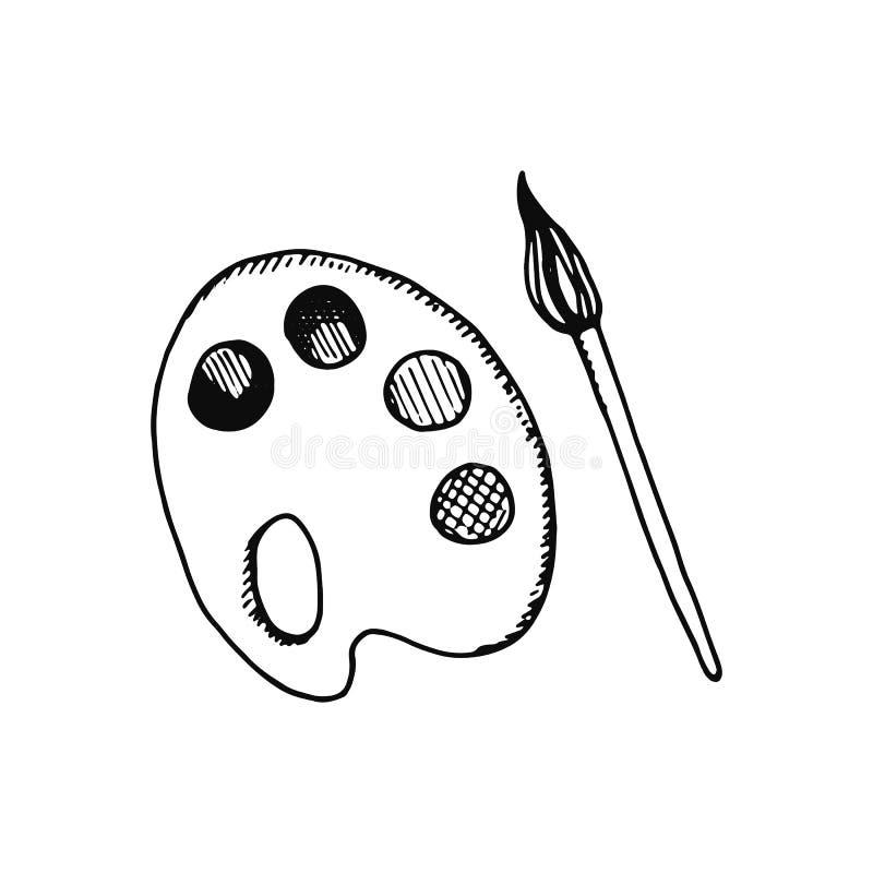 Målarfärgpalett och borstesymbol skissa isolerat objekt stock illustrationer