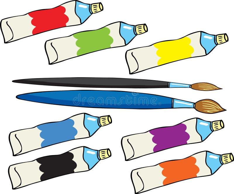 Målarfärgrör och borstar royaltyfri illustrationer