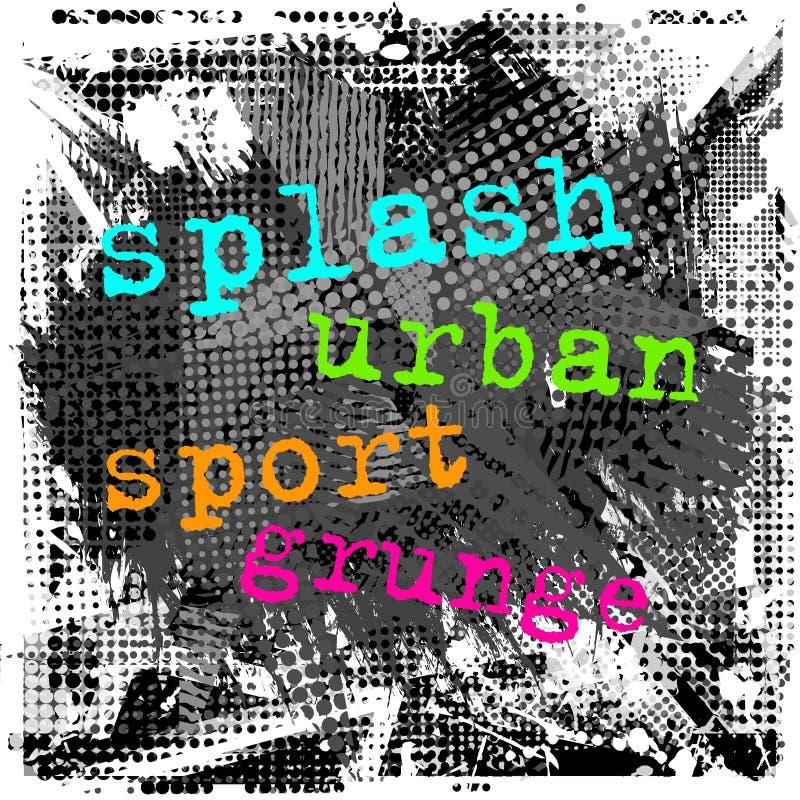 Målarfärgslaglängdcopyspace abstrakt stads- modell Grunge texturbakgrund Hasad droppe besprutar, prickar, målarfärg, färgstänk stock illustrationer