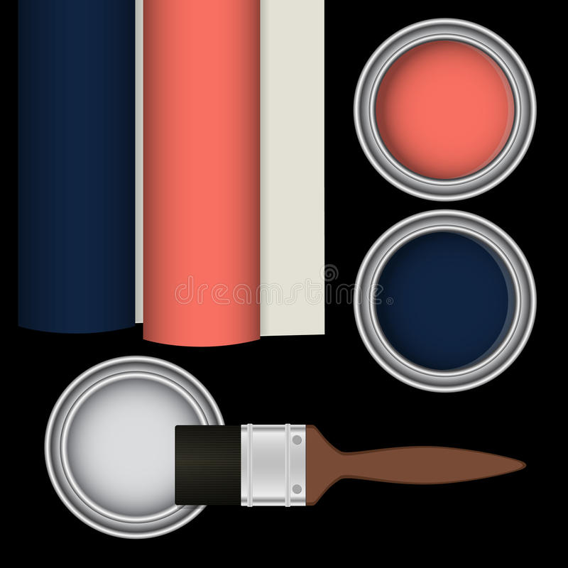 Målarpenseln och hinkar med rosa färger, blått målar också vektor för coreldrawillustration stock illustrationer