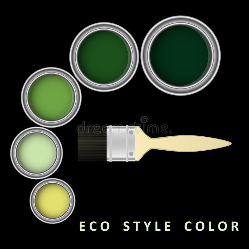 Målarpenseln och hinken med ecostilfärg målar också vektor för coreldrawillustration stock illustrationer