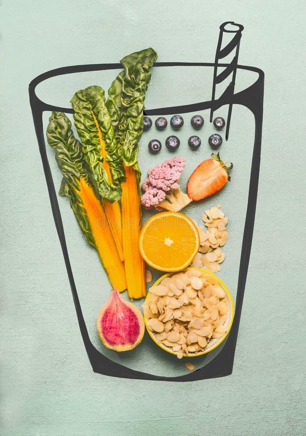 Målat exponeringsglas med smoothie- eller detoxdrinkingredienser: mandel, apelsin, rosa broccoli, jordgubbar, blåbär och gul char royaltyfria foton