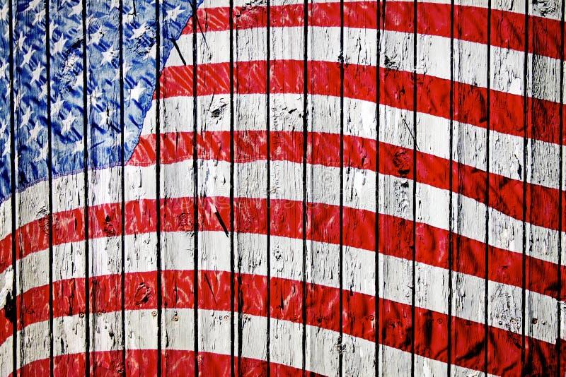 målat gammalt för amerikanska flaggan royaltyfri illustrationer