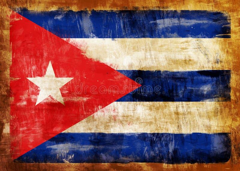 målat gammalt för cuba flagga royaltyfri illustrationer