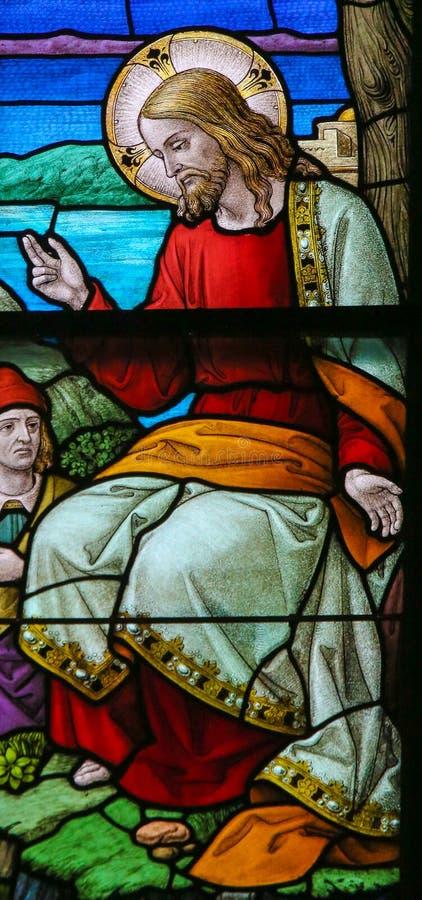 Målat glass av Jesus Christ i den Mechelen domkyrkan fotografering för bildbyråer
