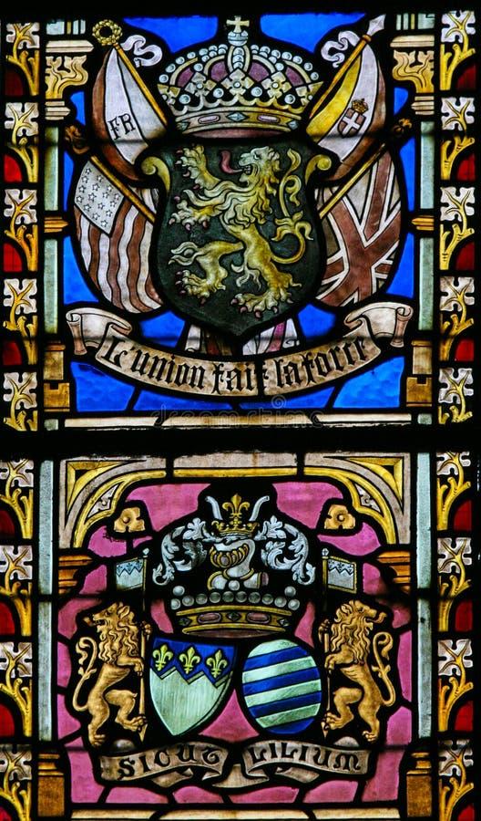 Målat glass - belgiskt lejon och flaggor av WWI-bundsförvanter royaltyfri foto