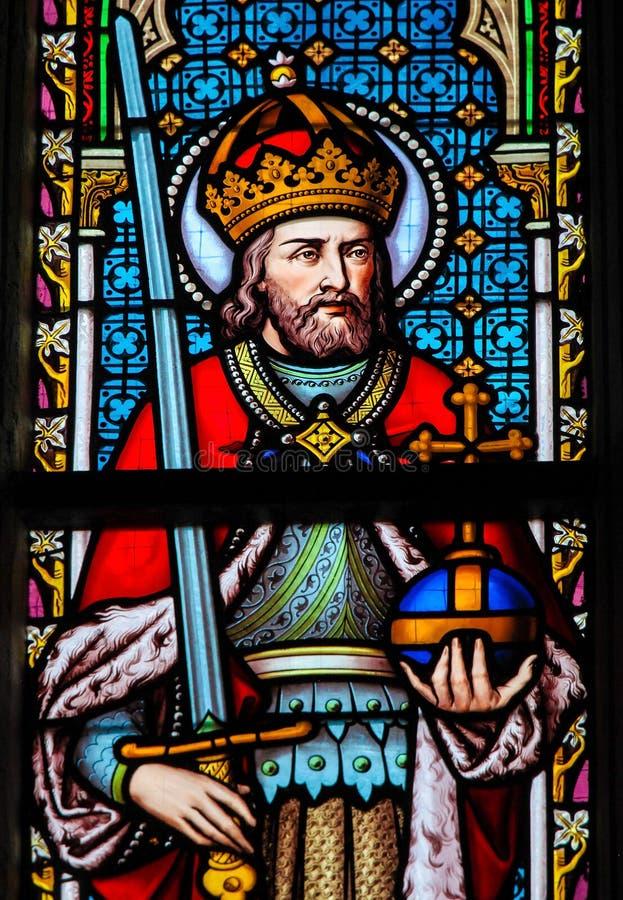 Målat glass - Charlemagne arkivbild