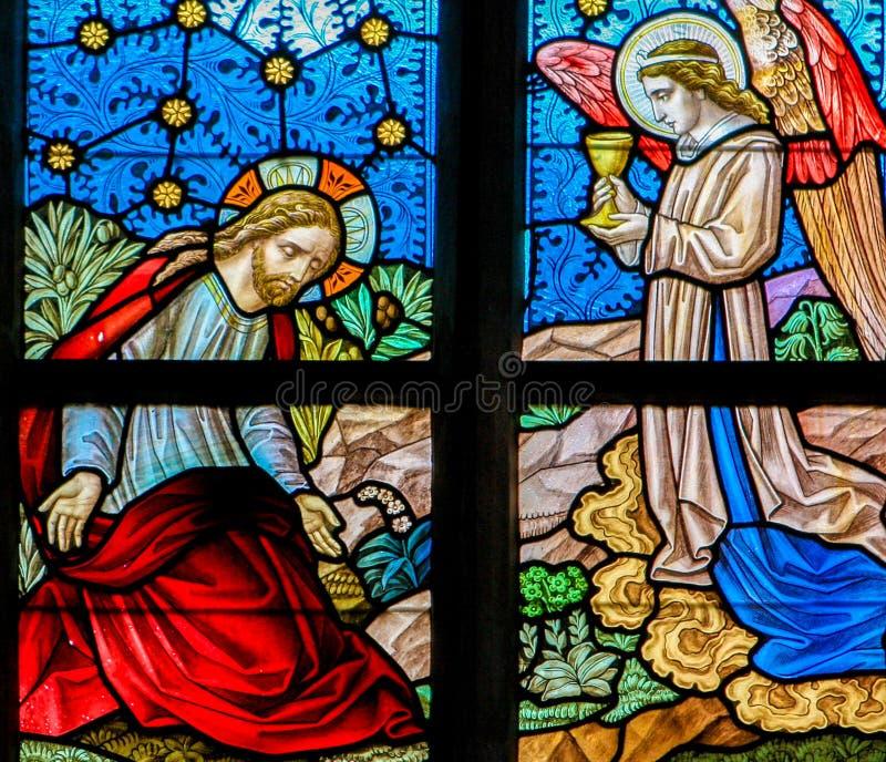 Målat glass - Jesus i trädgården av Gethsemane arkivfoto