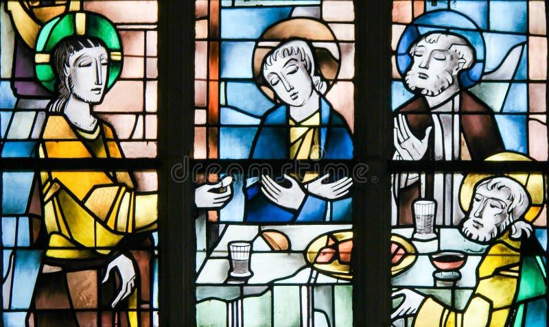 Målat glass - Jesus på den sista kvällsmålet royaltyfri fotografi