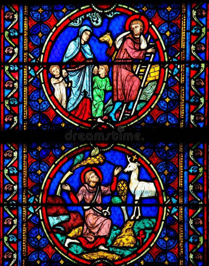 Målat glass - liv av Saint Joseph royaltyfri fotografi